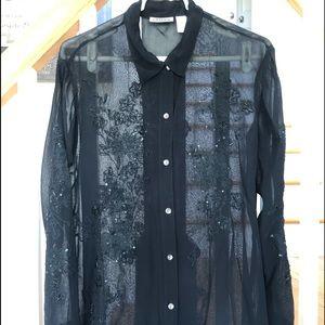 Chico's black sheer beaded blouse